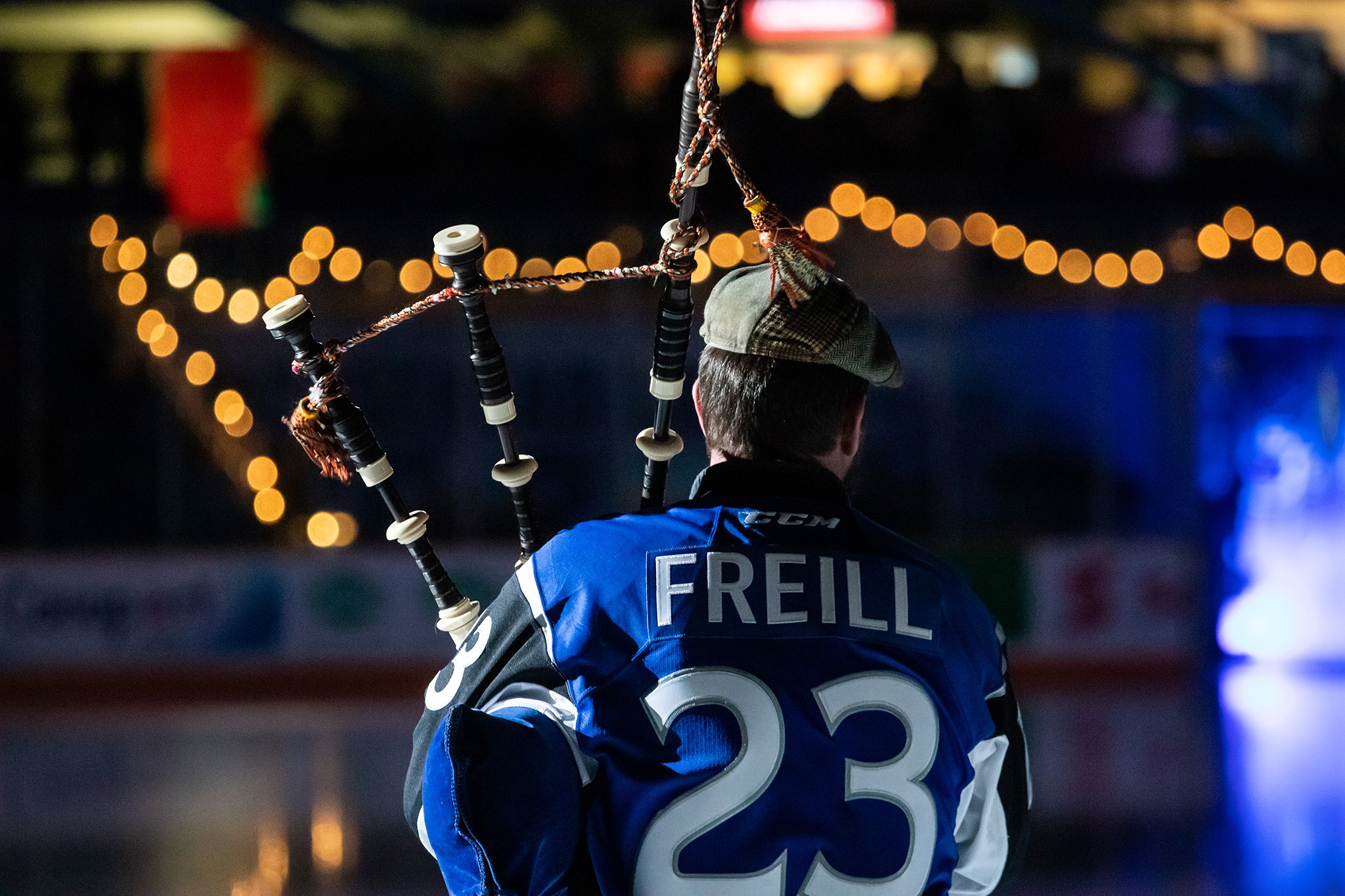 Liam Freill opens Sea Dogs games with the a call to arms on the bagpipes