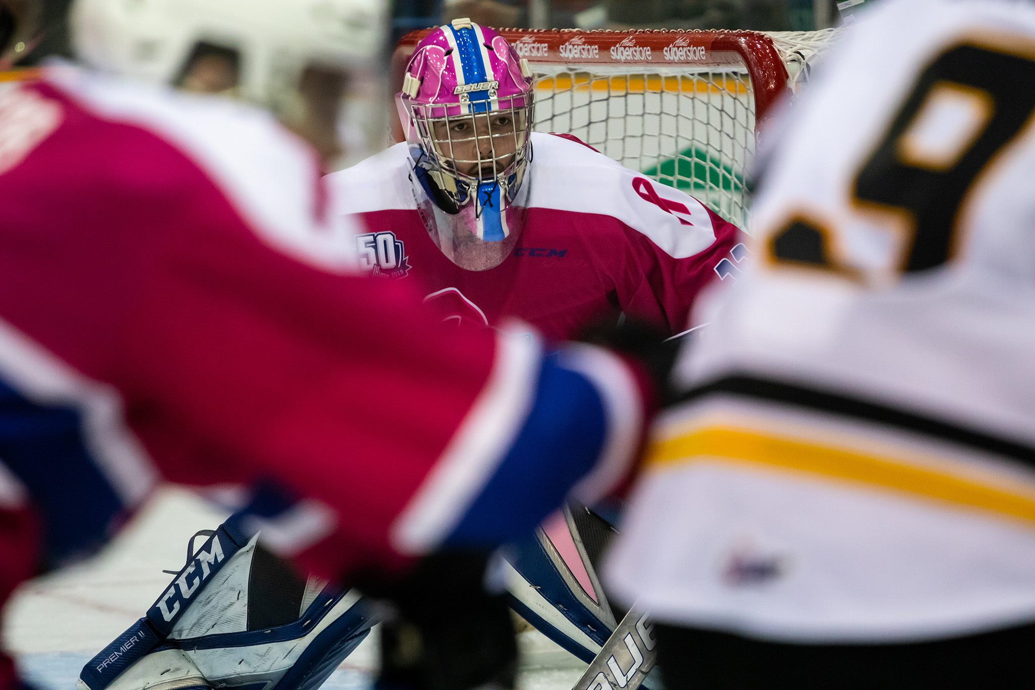 Goalie Alex D'Orio watches play during Pink in the Rink night